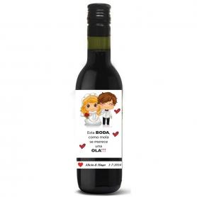Presa di nozze personalizzata per bottiglia di vino