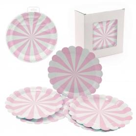 Confezione di piastre rosa usa e getta