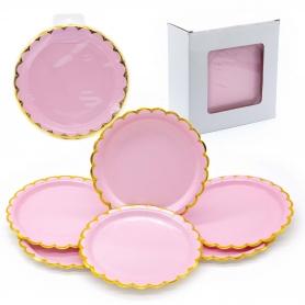Confezione di piatti di cartone rosa