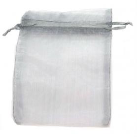Borsa in organza grigio argento 13 x 17