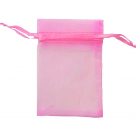 Borsa in organza rosa bubble gum 9x15