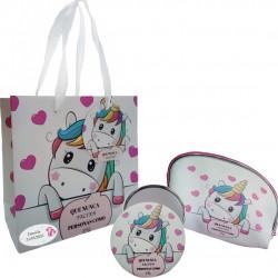 Regalo unicorno, borsa, specchio e borsa