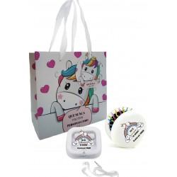 Cuffia in scatola con pennello unicorno specchio con borsa
