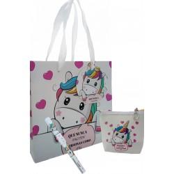 Grazie regalo, borsa e penna in un sacchetto di unicorno