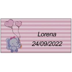 Adesivo elefante rosa, personalizzato per battesimo