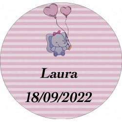 Adesivo personalizzato elefante rosa rotondo per battesimo