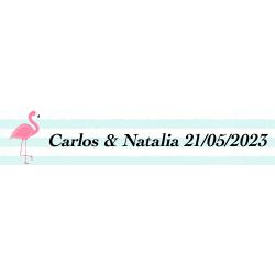 Adesivo flamenco, rettangolare personalizzato per matrimoni