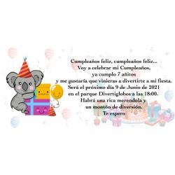 Invito koala personalizzato per il compleanno