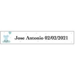Adesivo elefante blu, rettangolare personalizzato per...