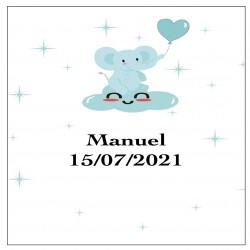 Adesivo elefante blu, quadrato personalizzato per battesimo