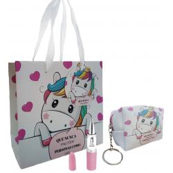 Borsa portachiavi, borsa unicorno, con penna e adesivo...