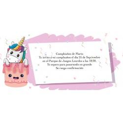 Invito unicorno personalizzato per il compleanno