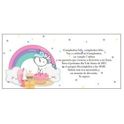 Invito unicorno arcobaleno, personalizzato per il compleanno