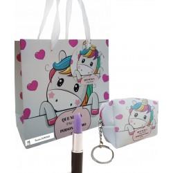 Borsa portachiavi con penna e borsa unicorno personalizzata