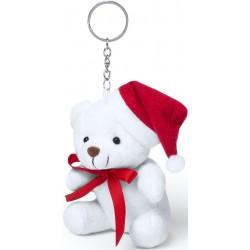 Portachiavi Teddy Bear con cappello natalizio