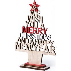 Albero di Natale in legno con messaggio fustellato