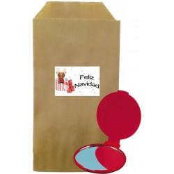 Confezione specchio rosso con busta natalizia Kraft marrone