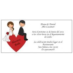Cuore dello sposo dell'invito di nozze