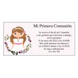 Inviti di comunione personalizzati per ragazza
