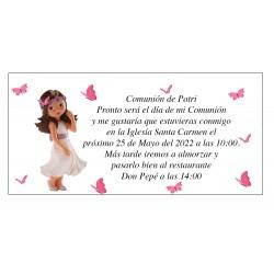 Invito alla Comunione Patri Girl con Farfalle