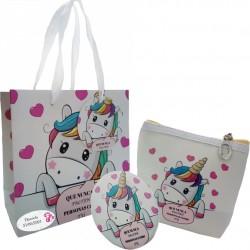 Confezione regalo con borsa unicorno e specchio