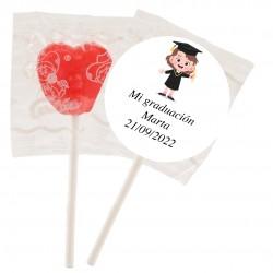 Lecca-lecca personalizzato con adesivo ragazza laurea