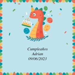 Adesivo compleanno disegno dinosauro 5 x 5 cm