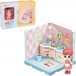 Armadio da cucina ad angolo per bambole da collezione