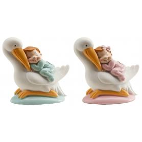 Figure di cicogna con bambino