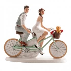 Figura di sposi in bicicletta