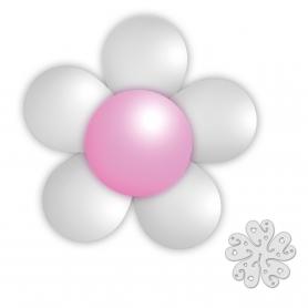 Confezione di palloncini a fiori bianchi e rosa
